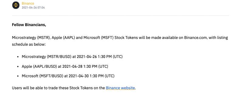 Το πρόγραμμα της Binance για τα ανερχόμενα tokens μέτοχων. Πηγη: Binance.com